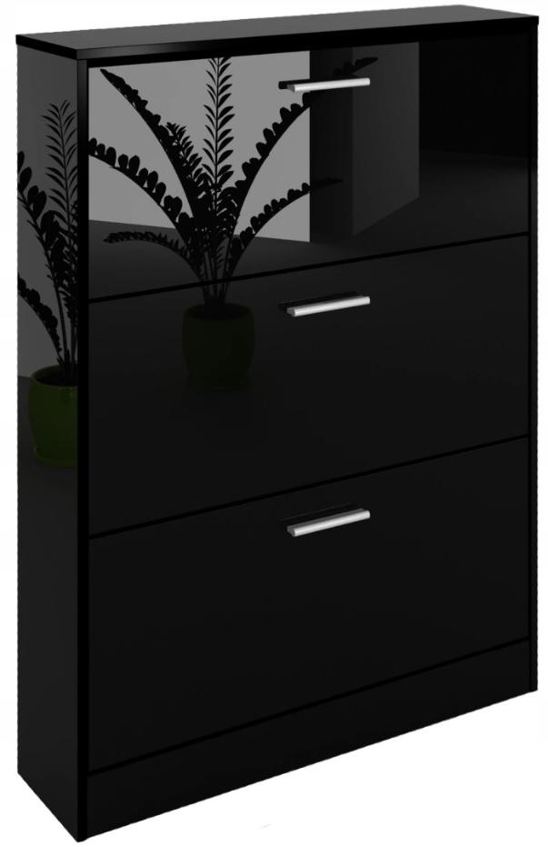 Botníku skrinka úložný priestor lesklý čierny 60 cm
