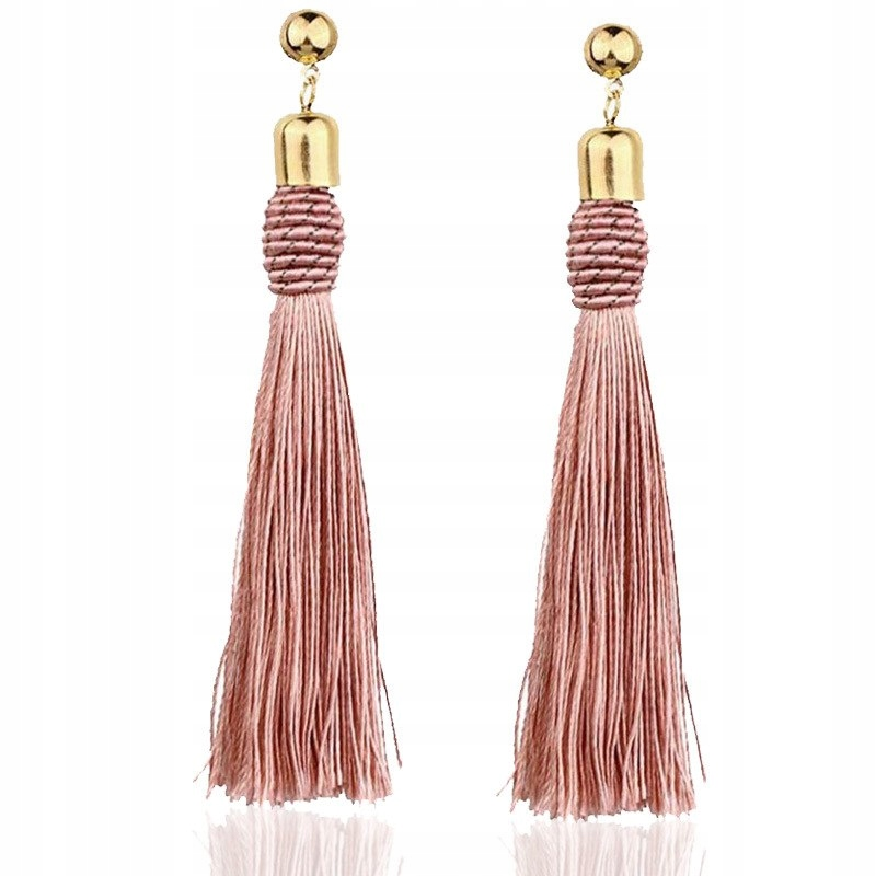 Item Earrings powder rose hanging long tassel chwost