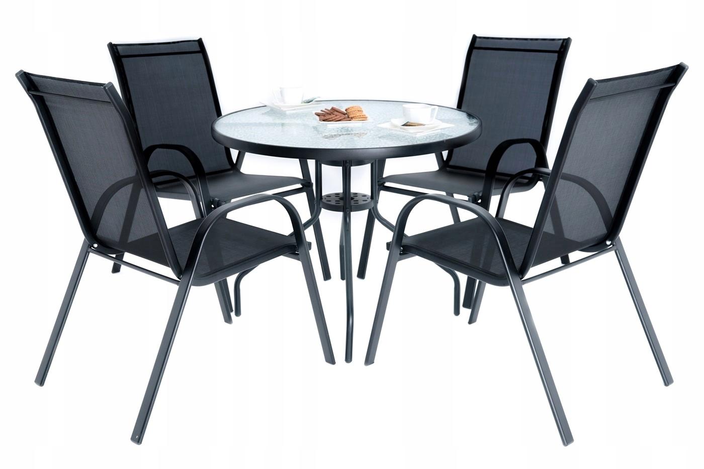 SKLENENÝ jedálenský STÔL + 4 stoličky NASTAVIŤ BALKANIKA 90x60 cm