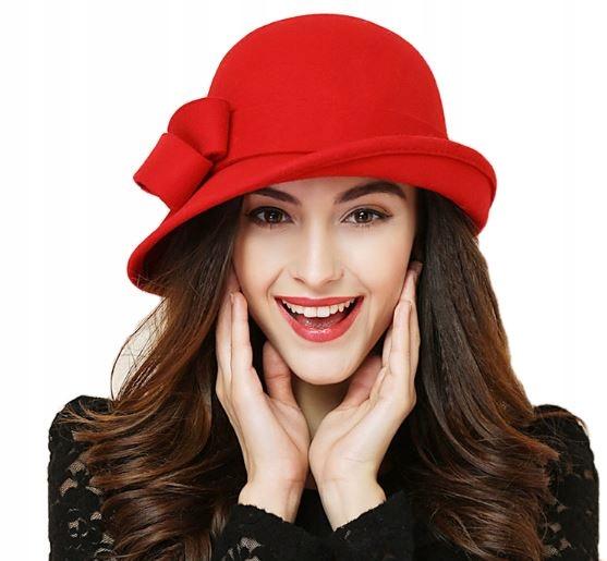 Vlna klobúk žien retro červená cibuľa