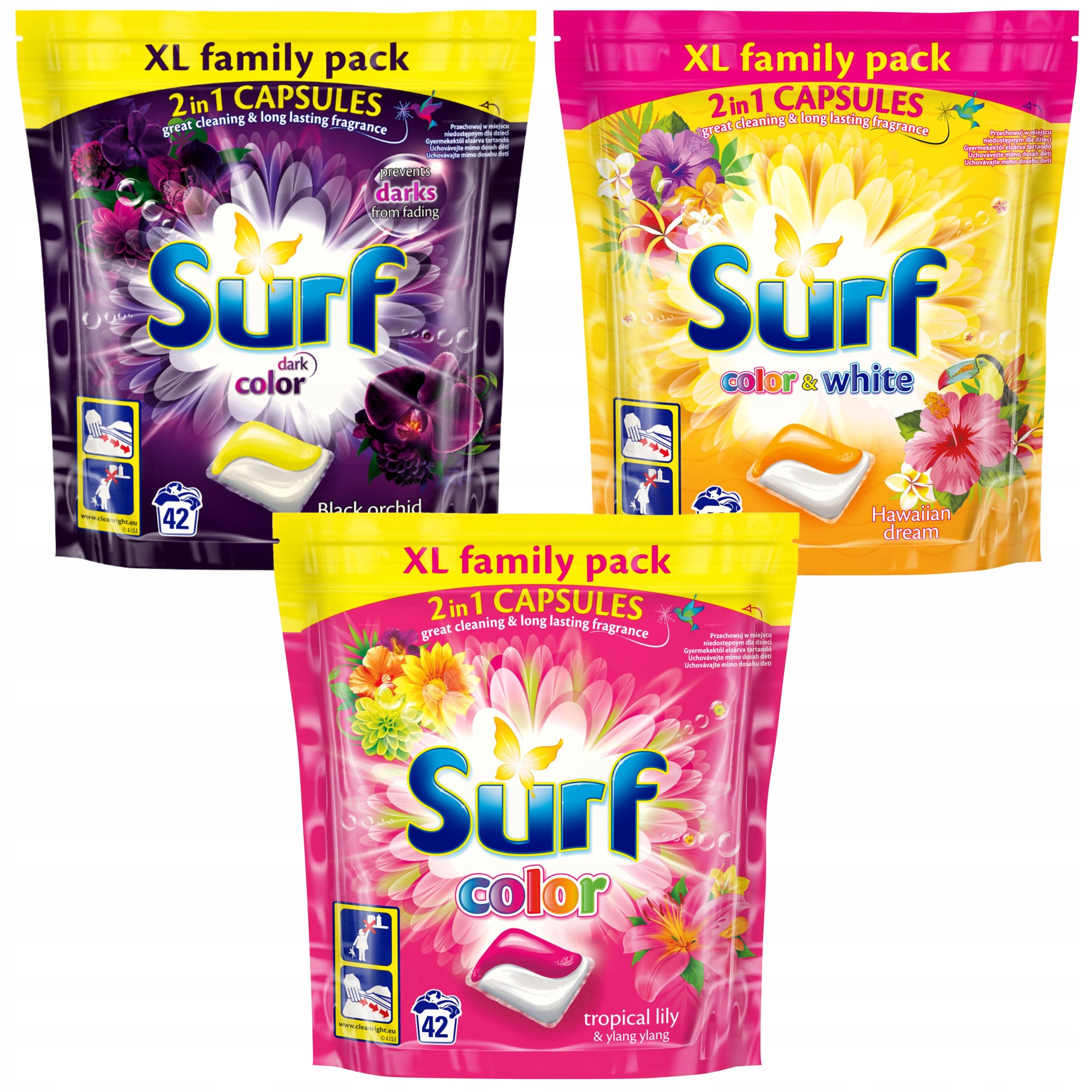 Surfovať Kapsule na Umývanie Sada Mix 3 × 42 = 126szt