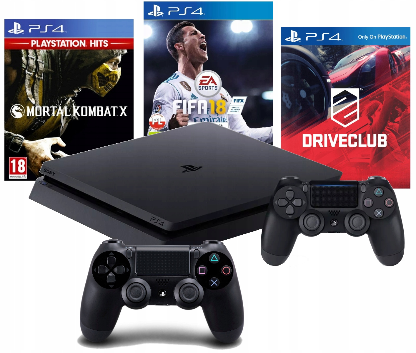 Купить PS4 SLIM 1TB+2 PAD+ MORTAL KOMBAT+ФИФА+DRIVECLUB на Otpravka - цены и фото - доставка из Польши и стран Европы в Украину.