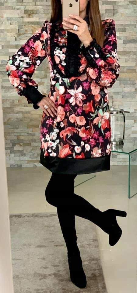 koszulowa letnia sukienka elegancka kwiaty 36 S
