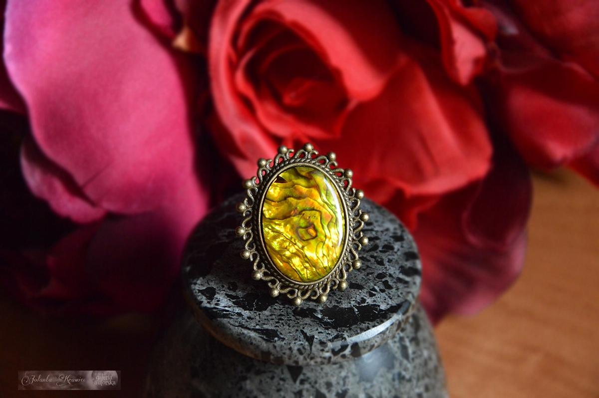 Shell Paua Krúžok veľká Kolekcia vintage