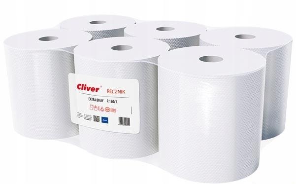 Полотенца бумажные в рулонах, белые пачка 6x130m