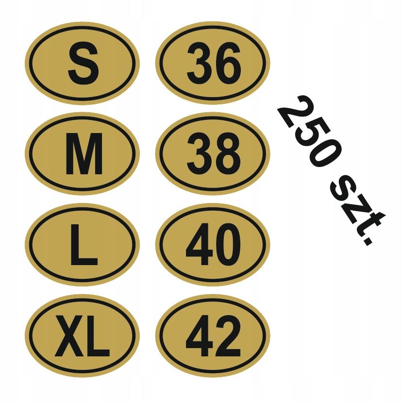 Oválne samolepky s veľkosťou, štítkami oblečenia. 250x