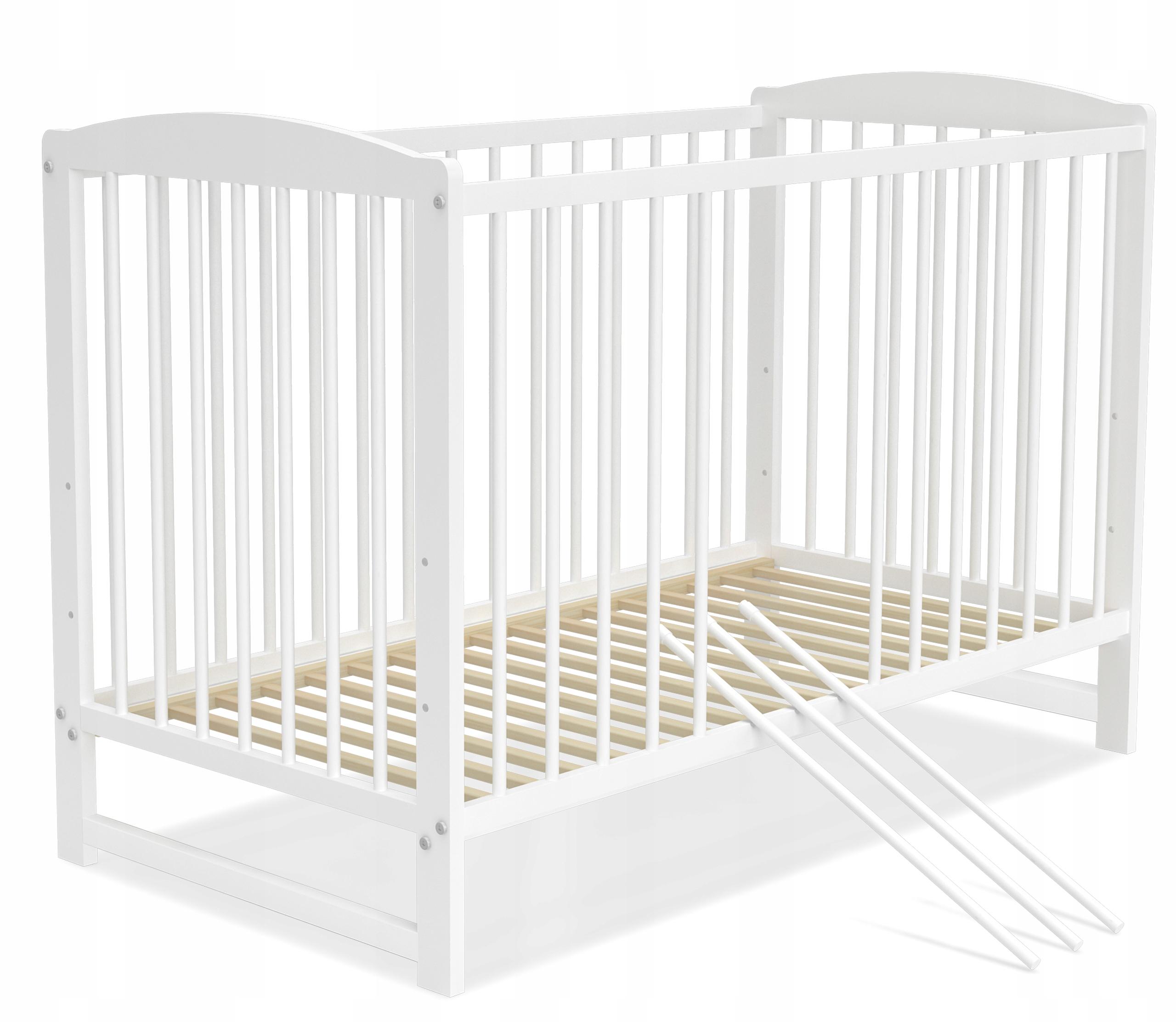 Łóżeczko dziecięce 60x120 cm ADAŚ białe 2w1 Długość 120 cm