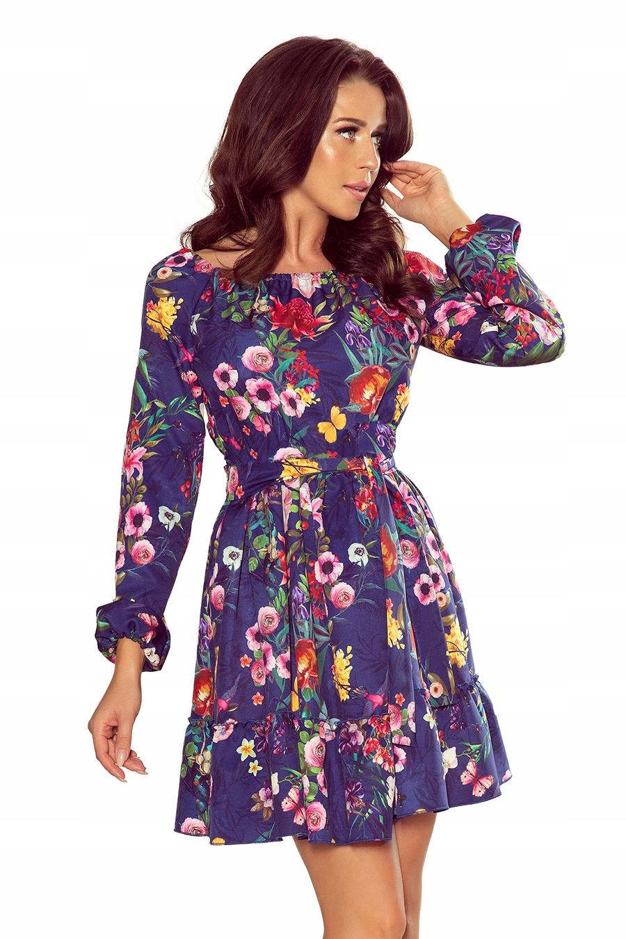 Daisy Sukienka z falbankami i paskiem Kwiaty (XL)