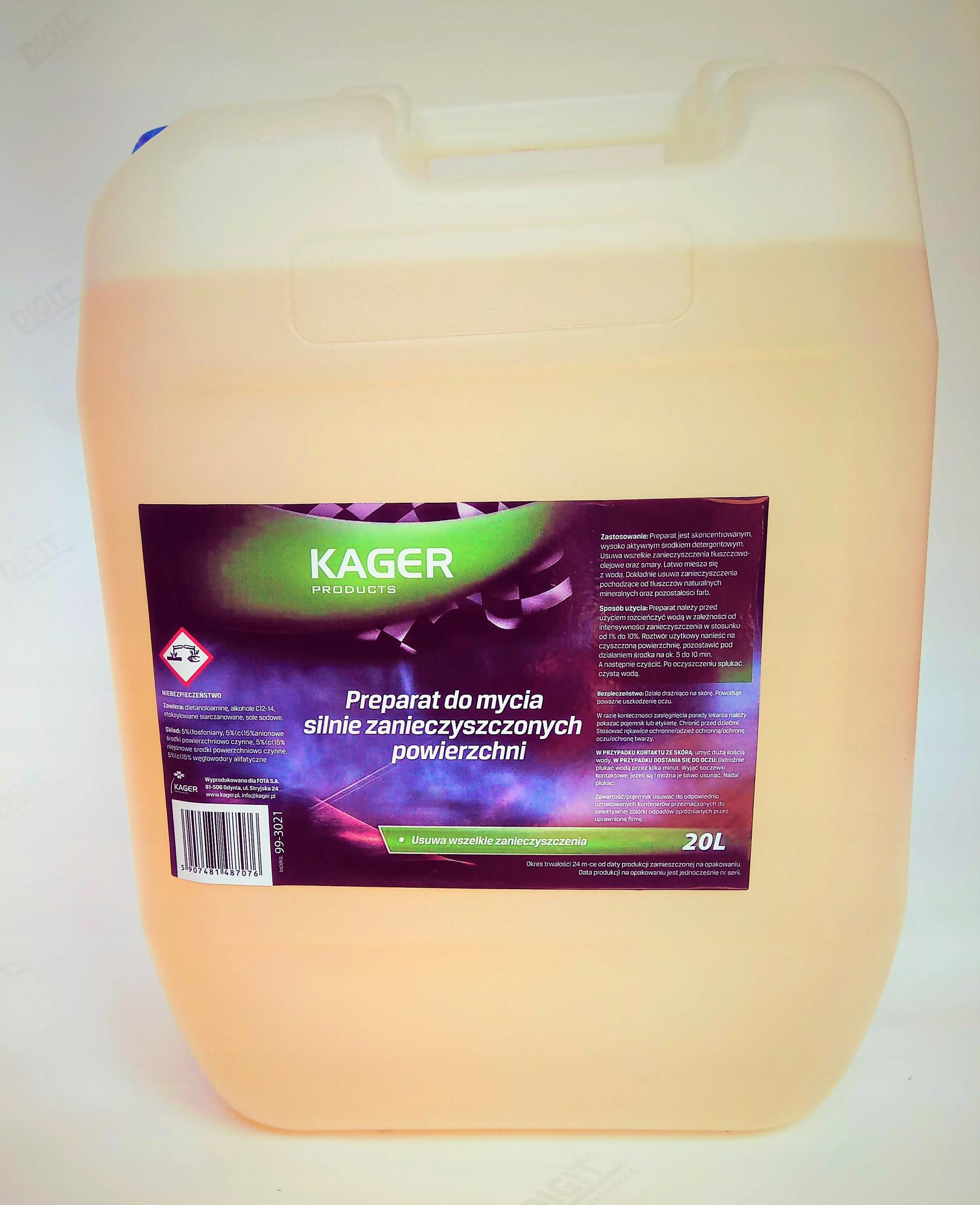 Препарат для сильно загрязненных поверхностей KAGER 20L EAN 5907481487076
