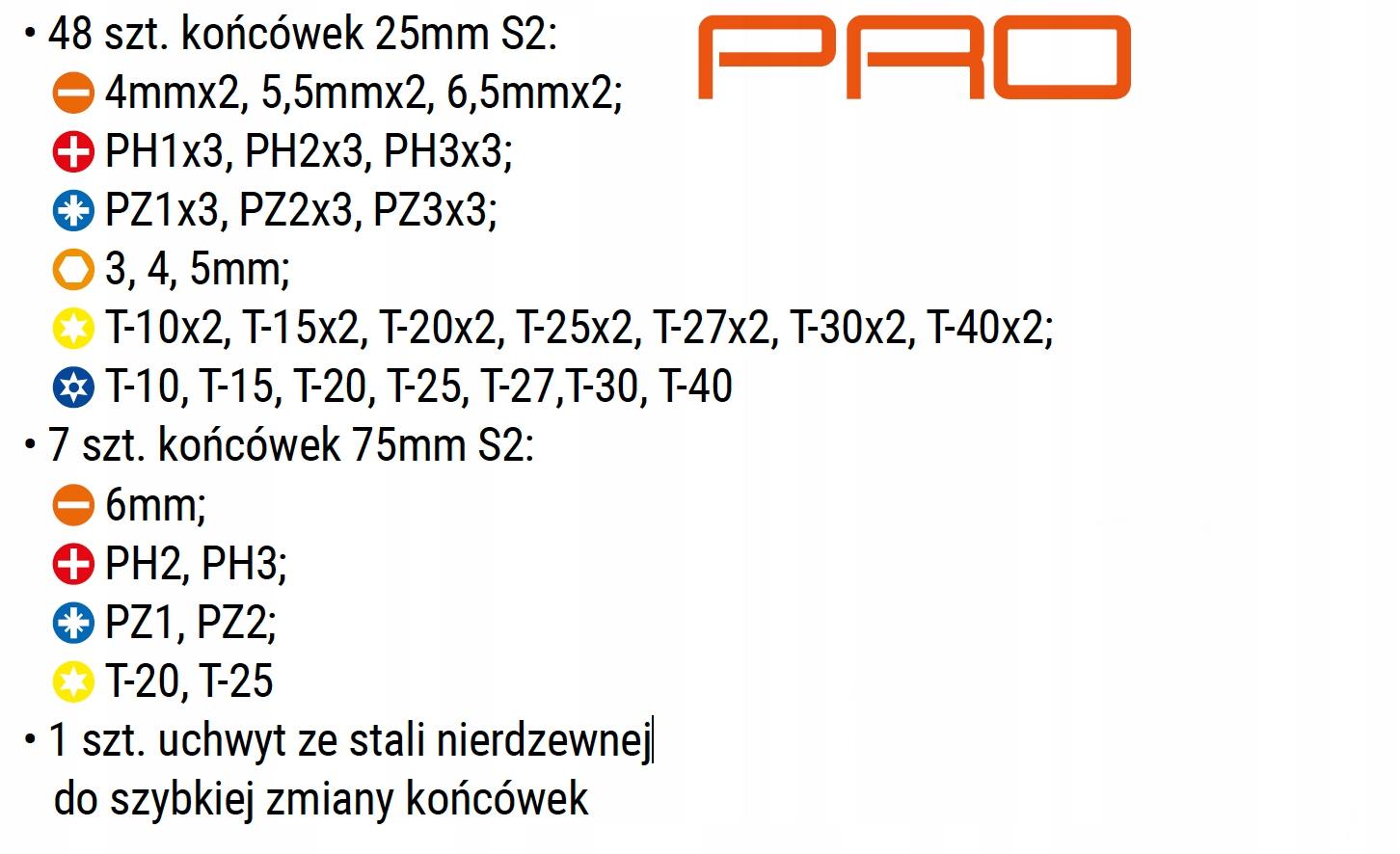 Bity końcówki S2 profesjonalne, zestaw 56 - TACTIX Typ grotu HEX płaski Philips Pozidriv Torx imbus sześciokątny zewnętrzny