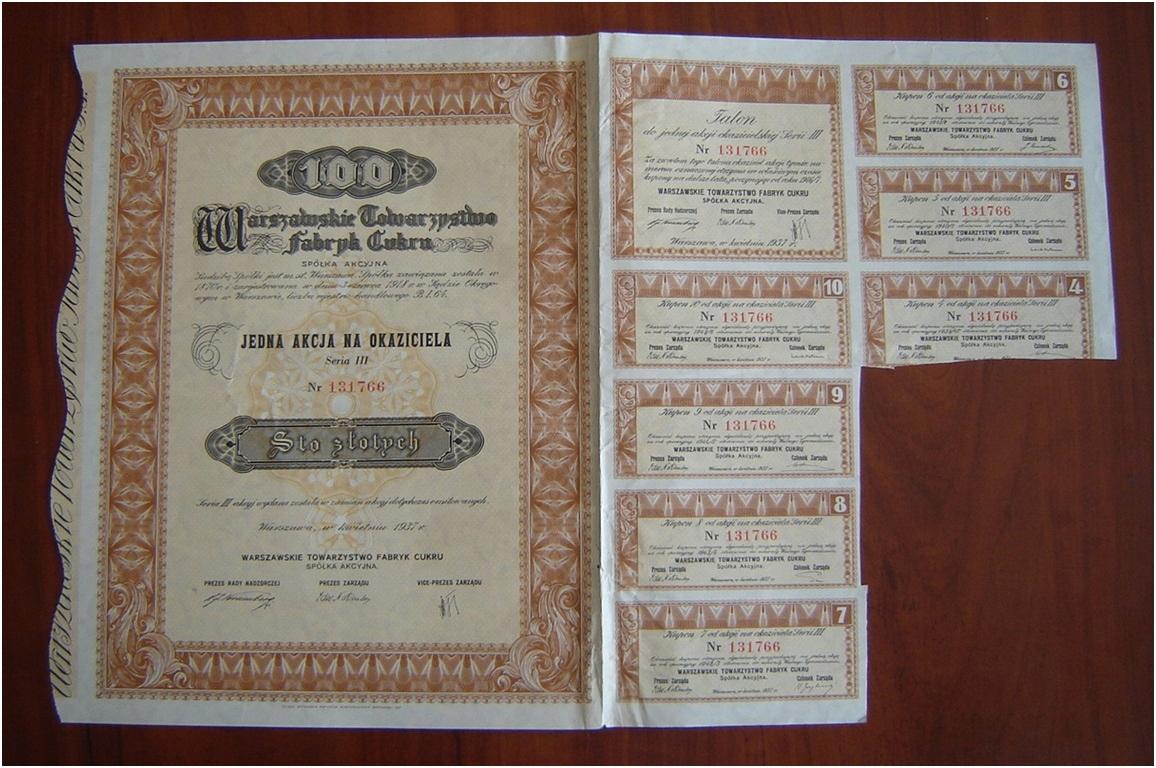 Varšavská spoločnosť Sugar Fabryk S.A. 1937