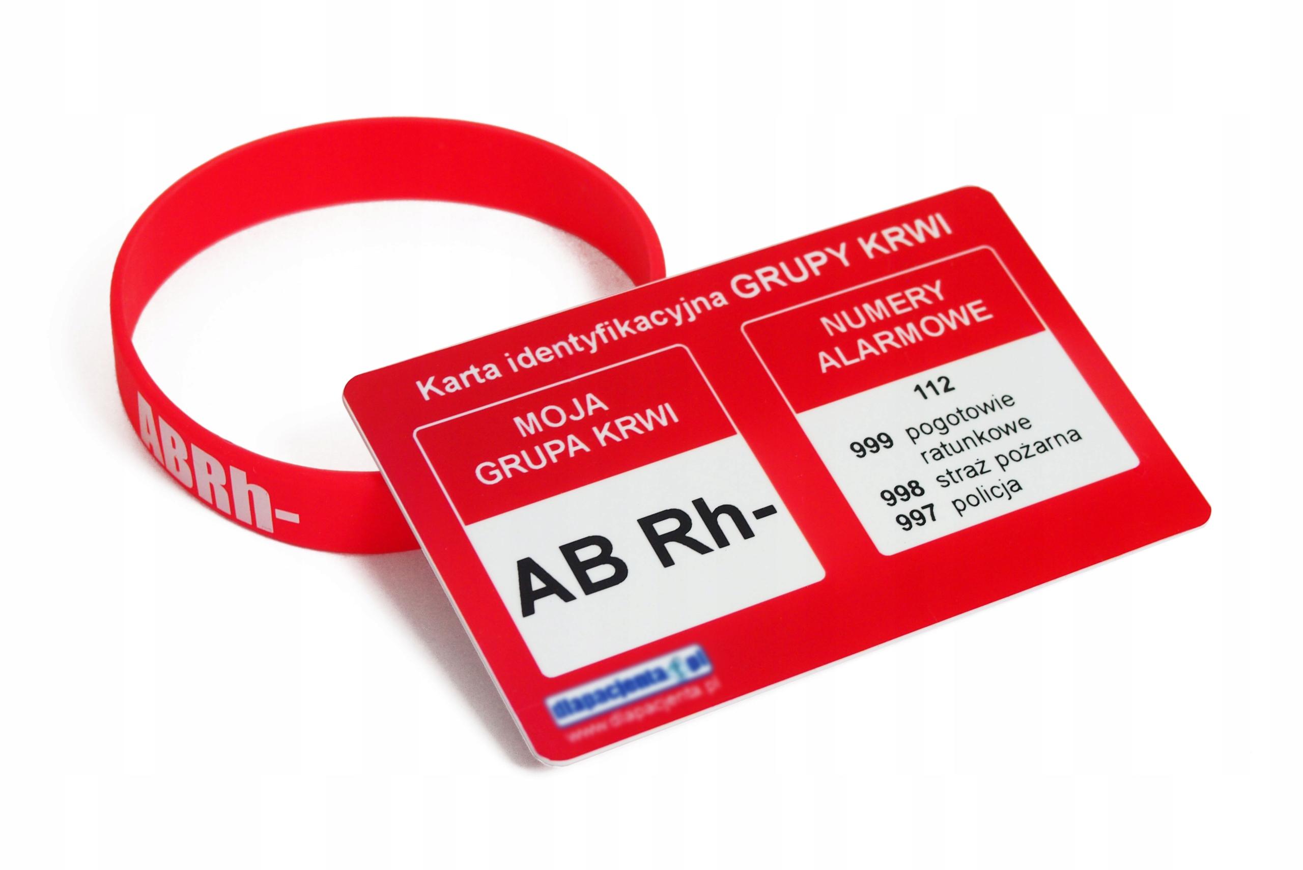 Karta Grupa Krwi Ab Rh Czerwona Opaska Silikonowa 8790051047 Allegro Pl
