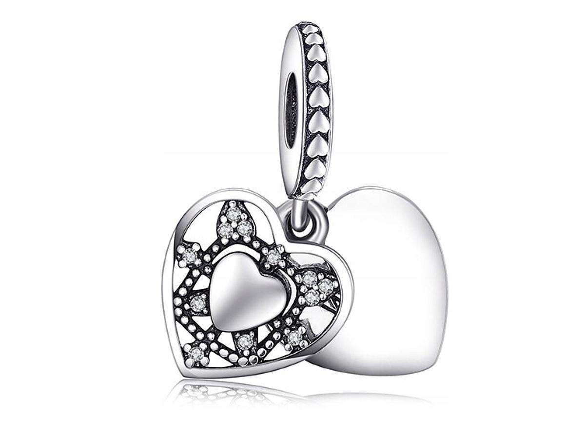 Prívesky na srdce Pandora Double Double Silver Silver 925