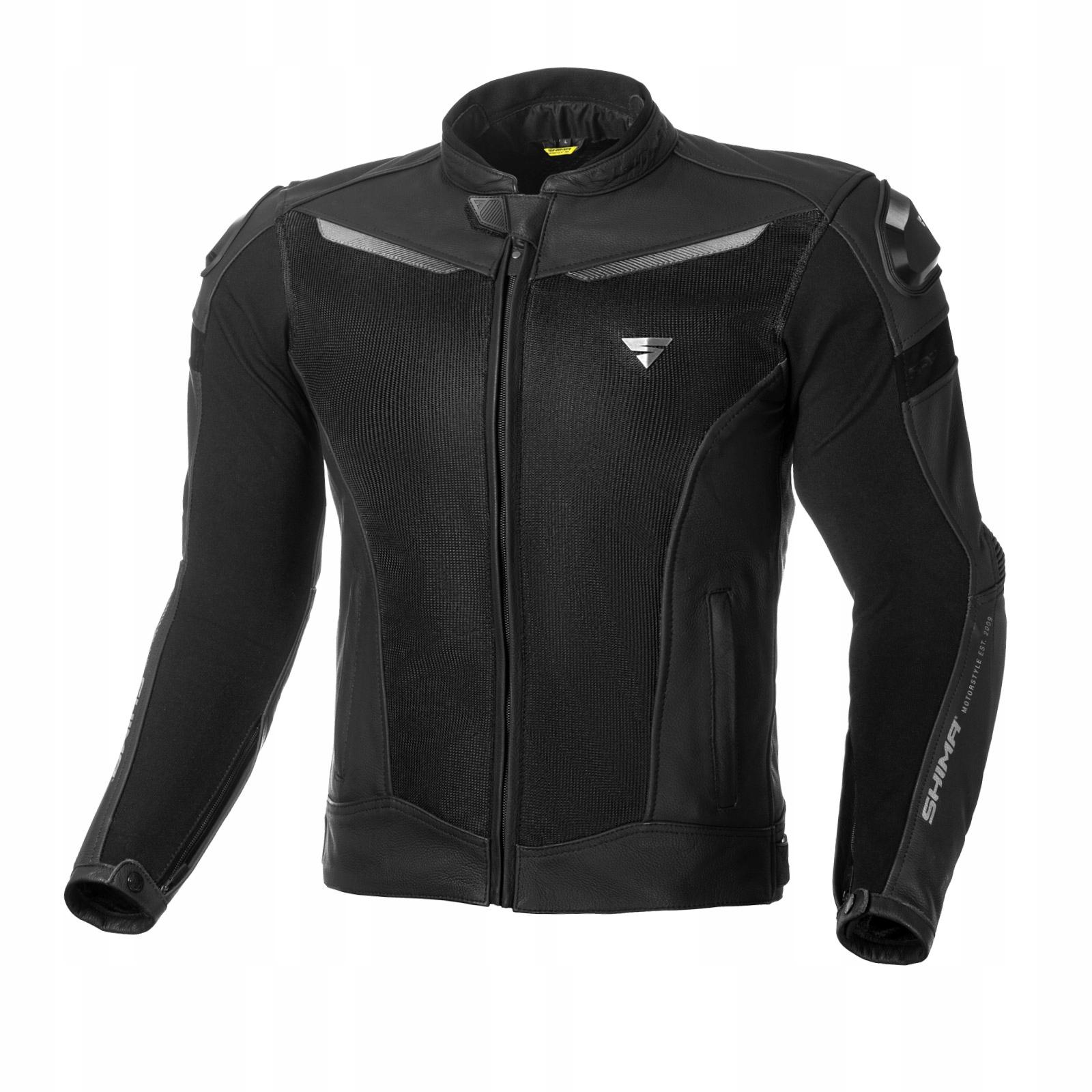 Летняя кожаная куртка SHIMA PISTON Black XL 54