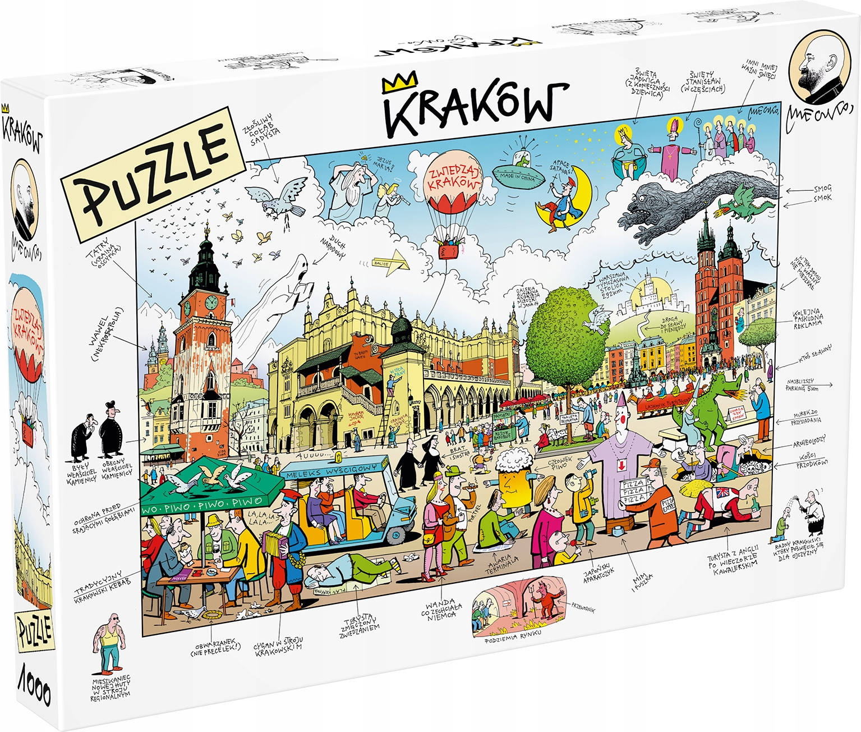 Puzzle - Krakov, Hlavné námestie, kresba Anrzej Mleczko
