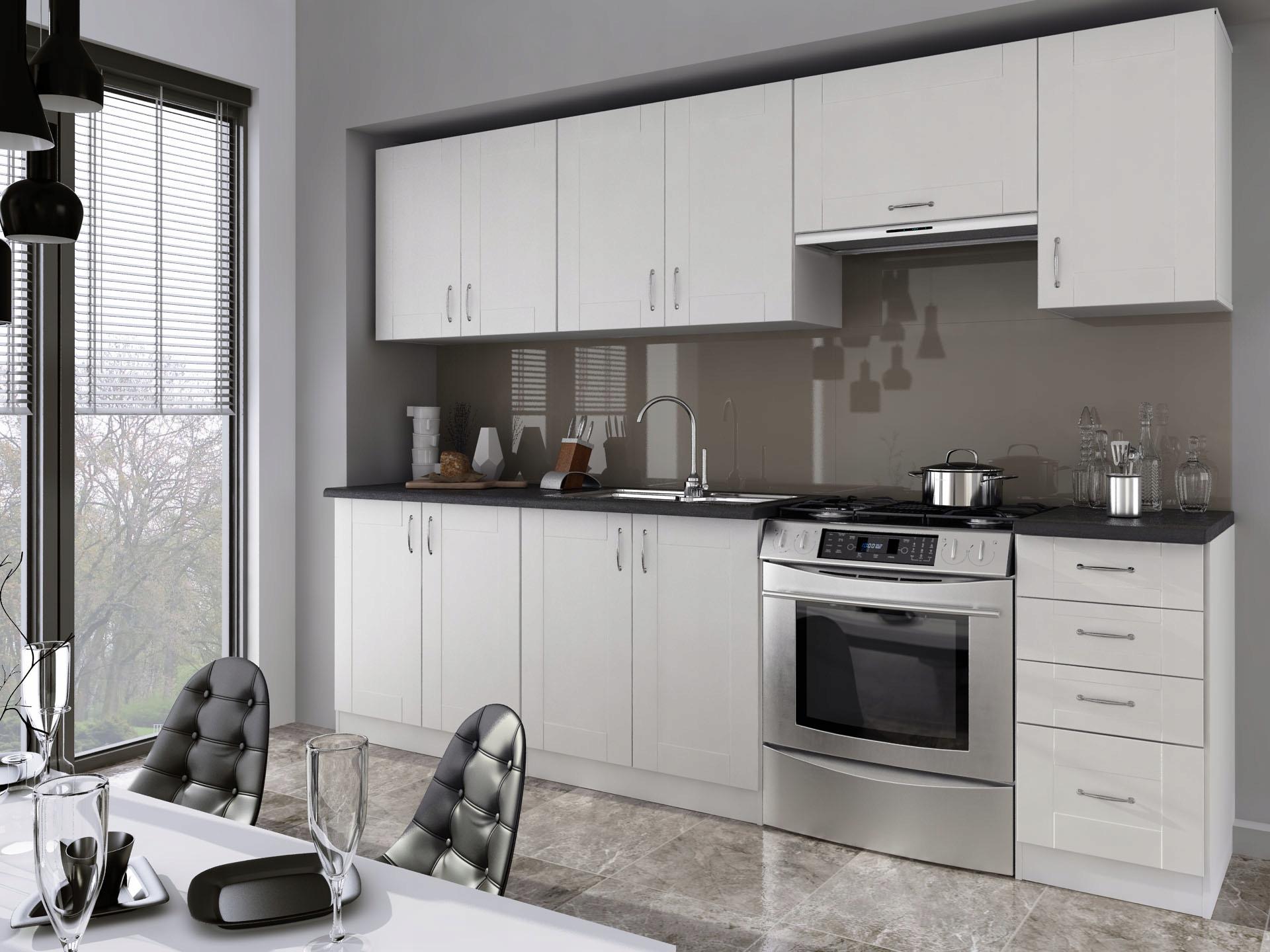 Kuchyňa - 2,40 m, biela, moderná / retro, vykrajovátko