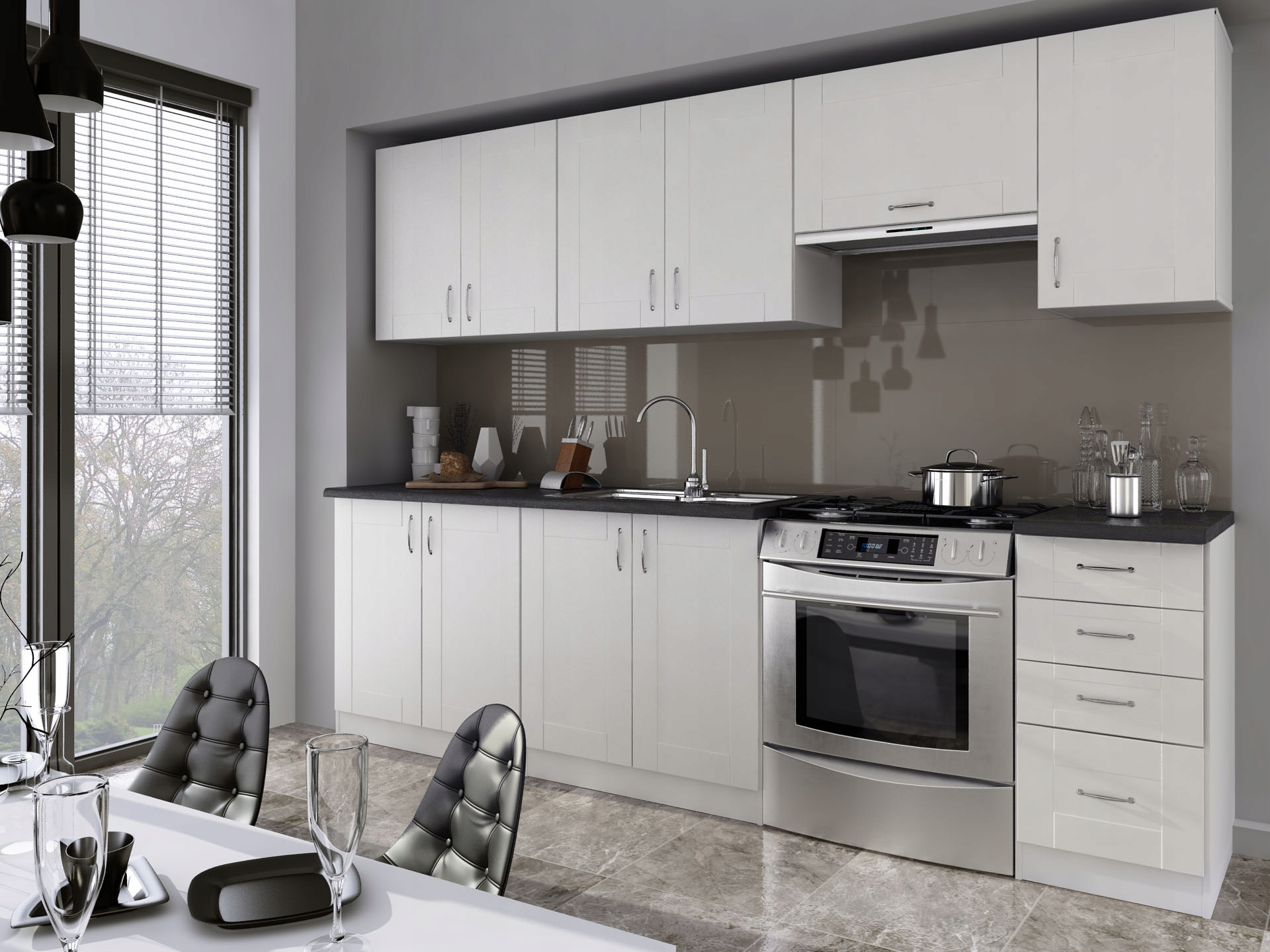 Kuchyňa - 2.60 m, biela, moderná/retro, mlyn