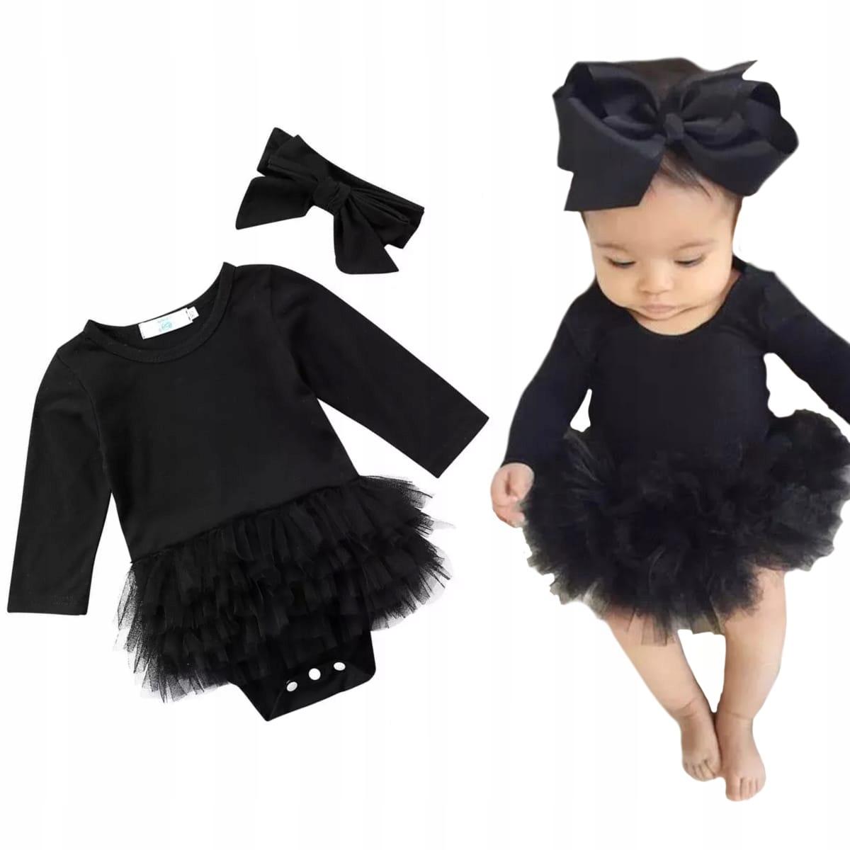Kombinéza šaty s čiernou tylu TUTU s hlavovým oblúkom 86 92 24
