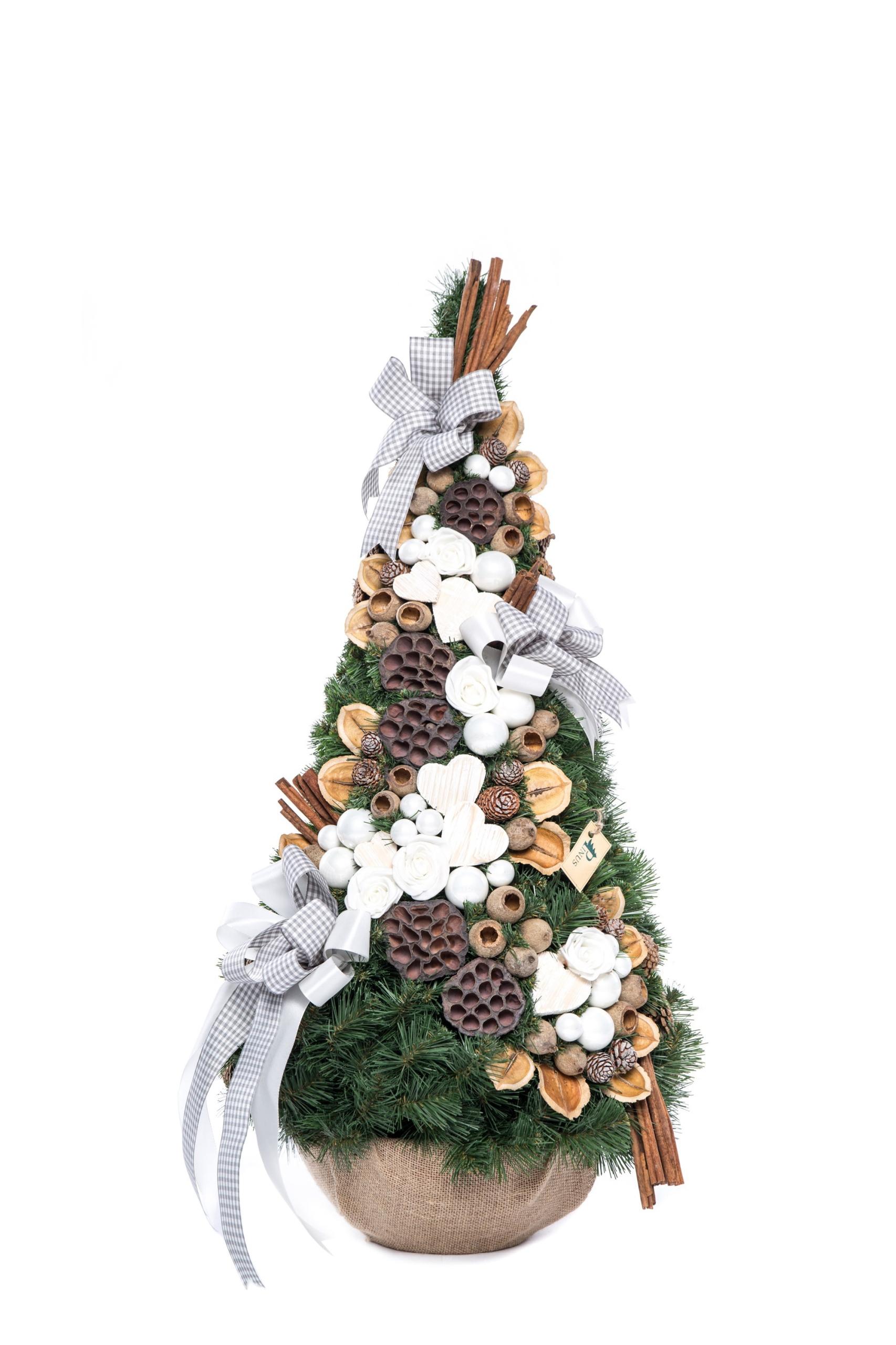 Zdobený vianočný stromček, šiška, sivá 90 cm