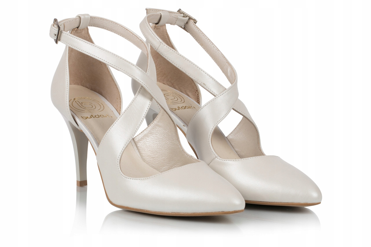 Buty ślubne taneczne skóra perła ekru z paskami 38