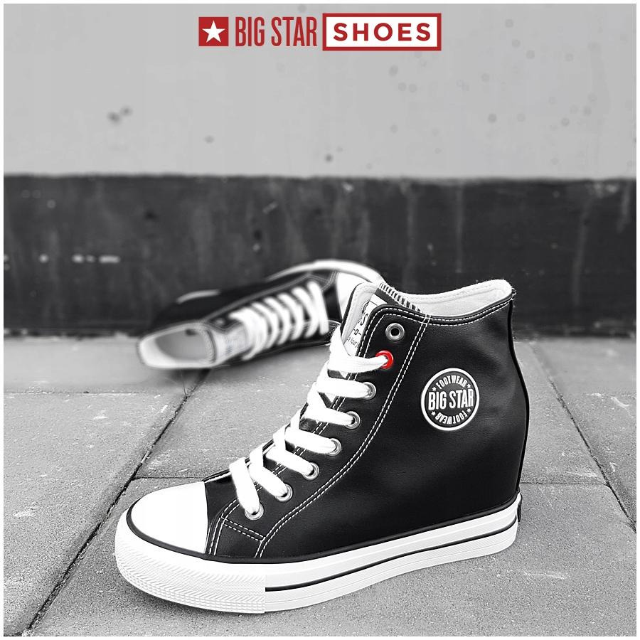 Sneakersy Big Star czarne na koturnie EE274615 39