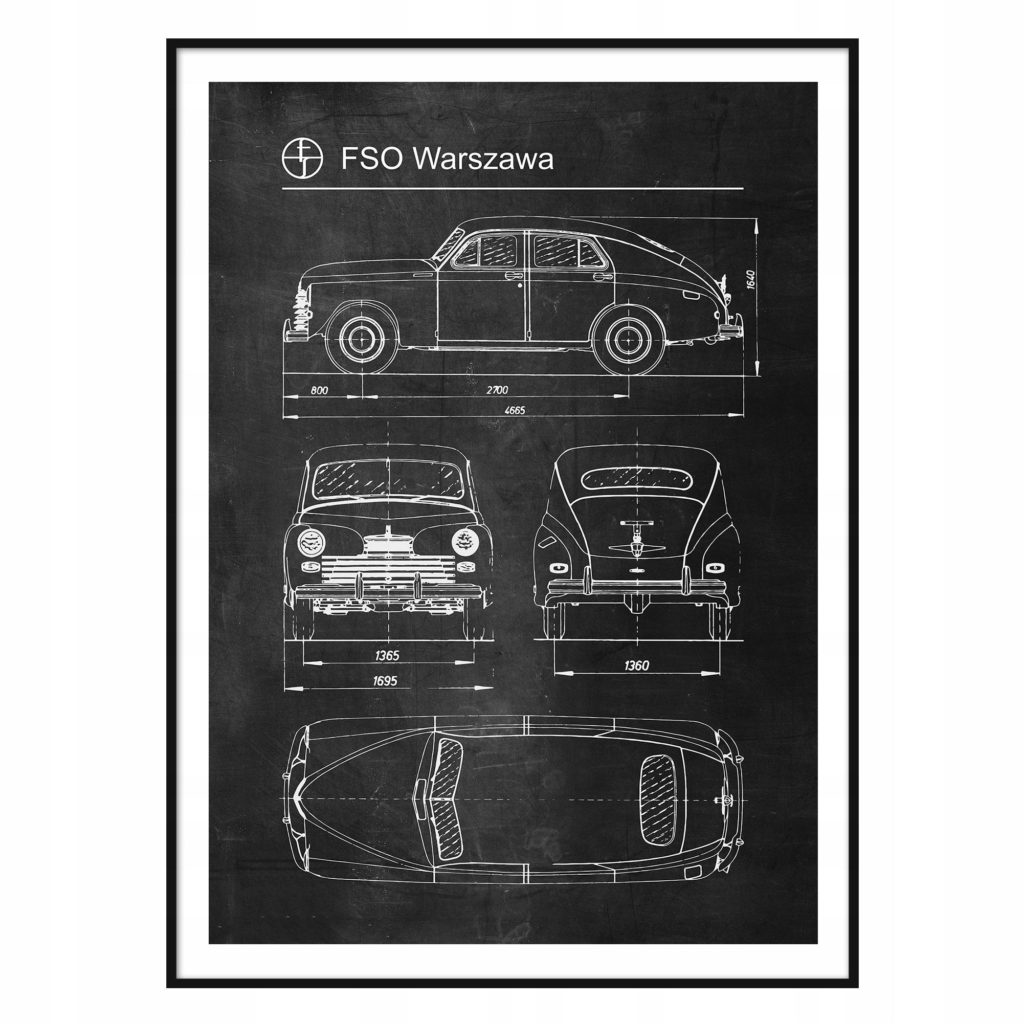 Plagát FSO Varšava Retro Patent Plagát Auto, pnrm.