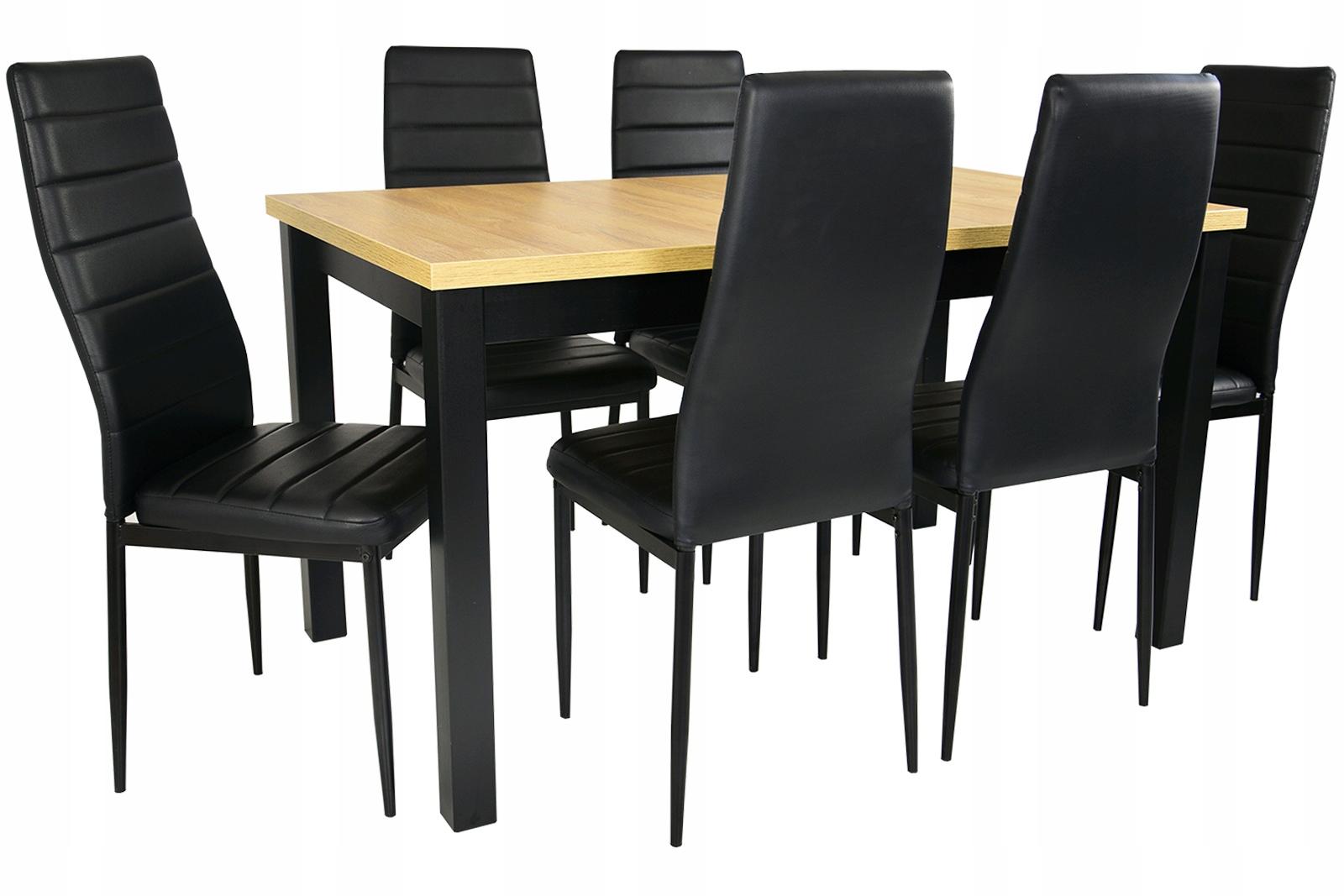 комплект ??? СТОЛОВОЙ стол 80 /180 с 6, стулья Черный