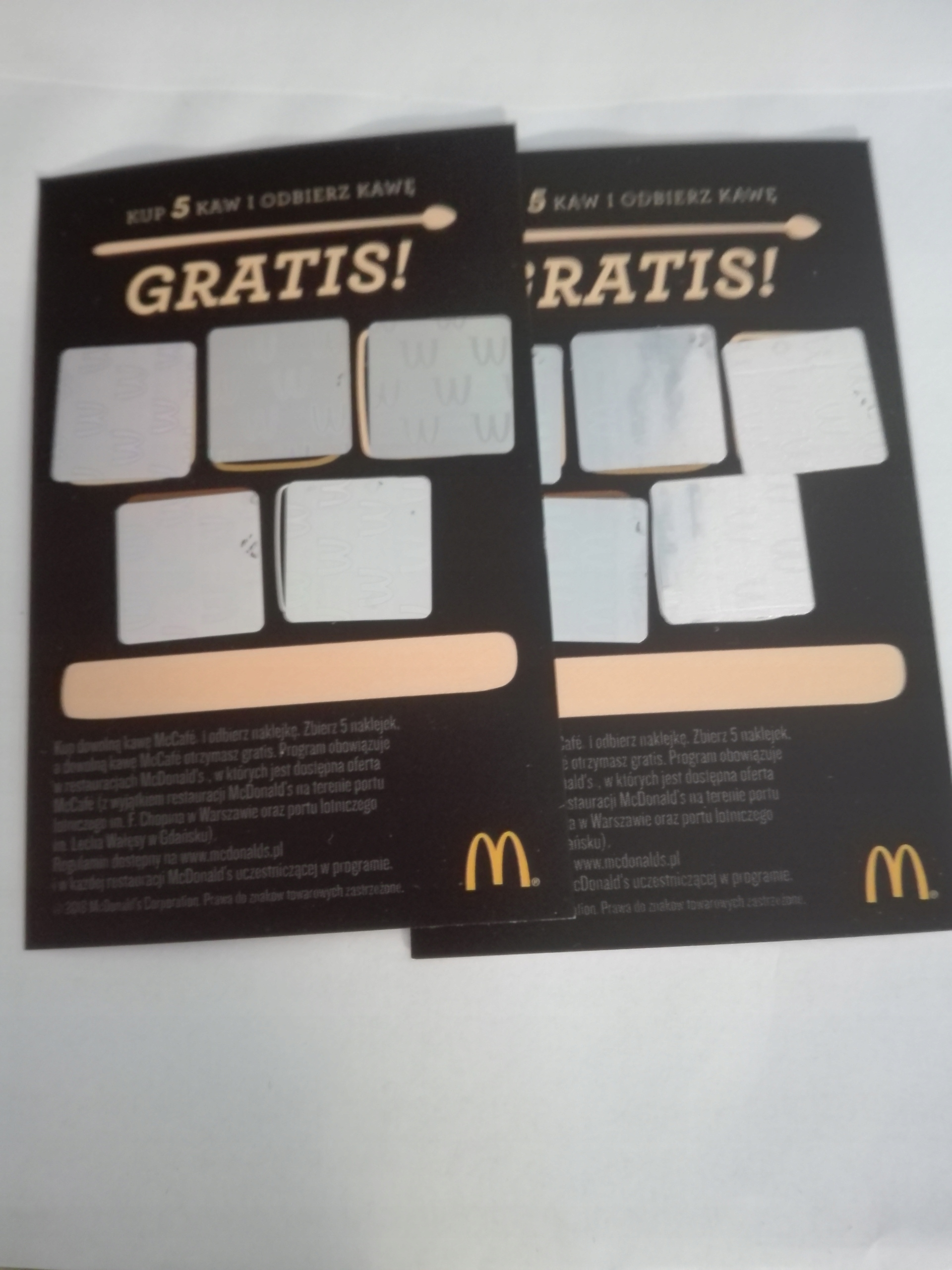 Item Coupons for coffee at McDonald's 10 +1 free