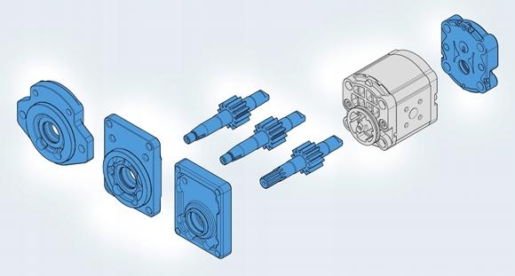 Насос шестеренный 1 ,2 ,3 -секционный пресс Bosch Rexroth конфиг.