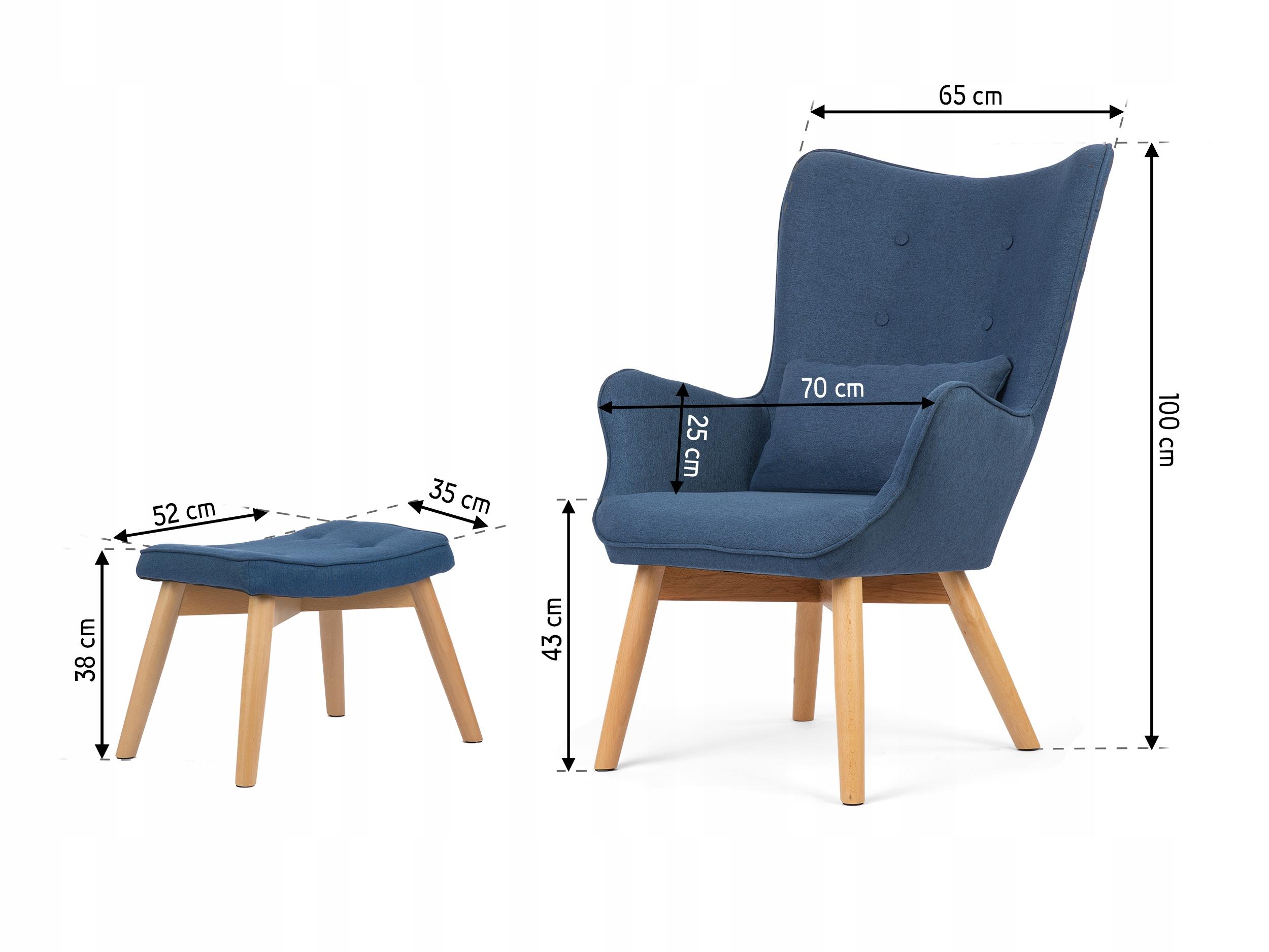 Fotel USZAK styl skandynawski + podnóżek poduszka Marka Sofotel