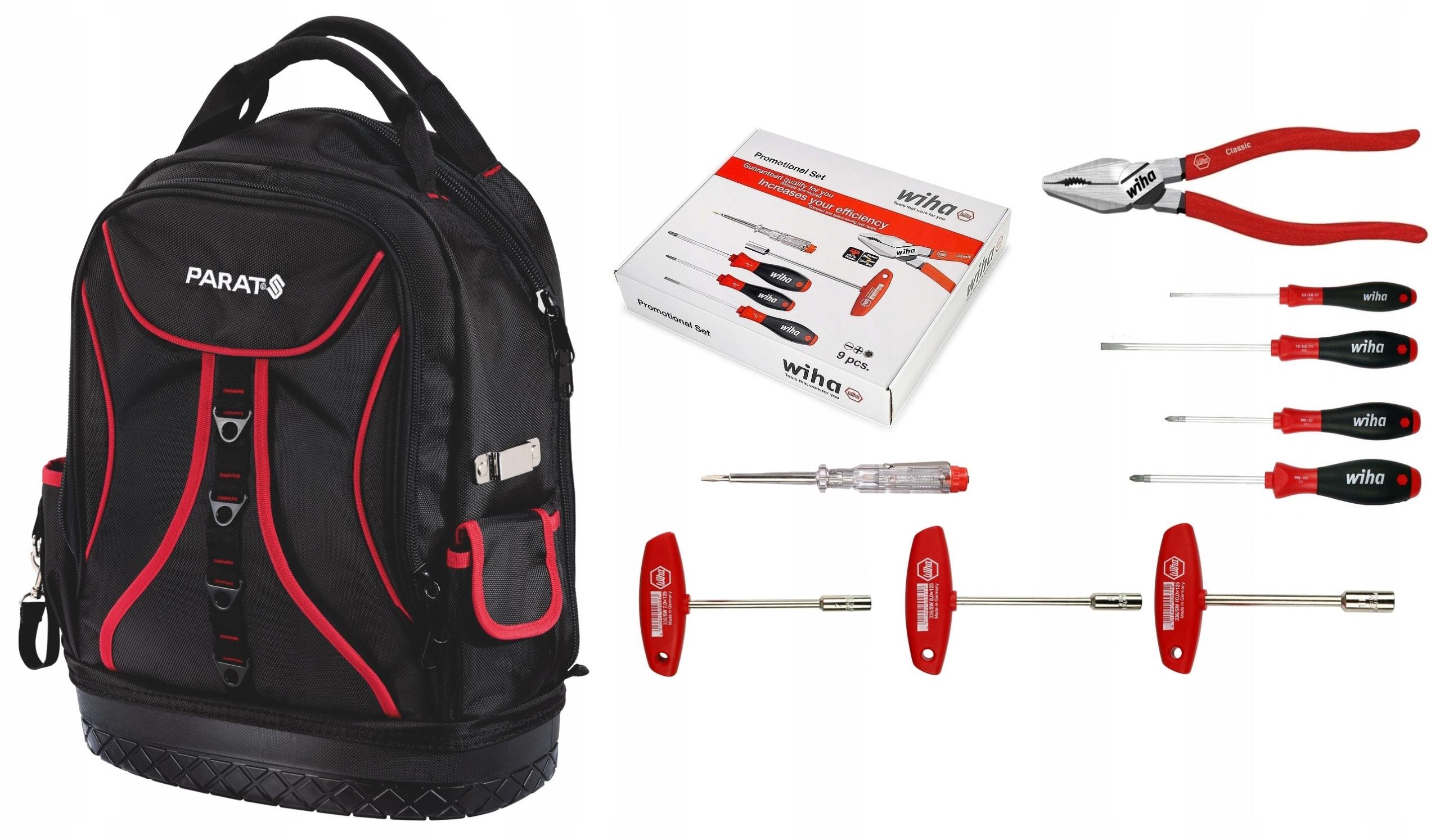 Plecak monterski PARAT + narzędzia WIHA 9 szt HIT