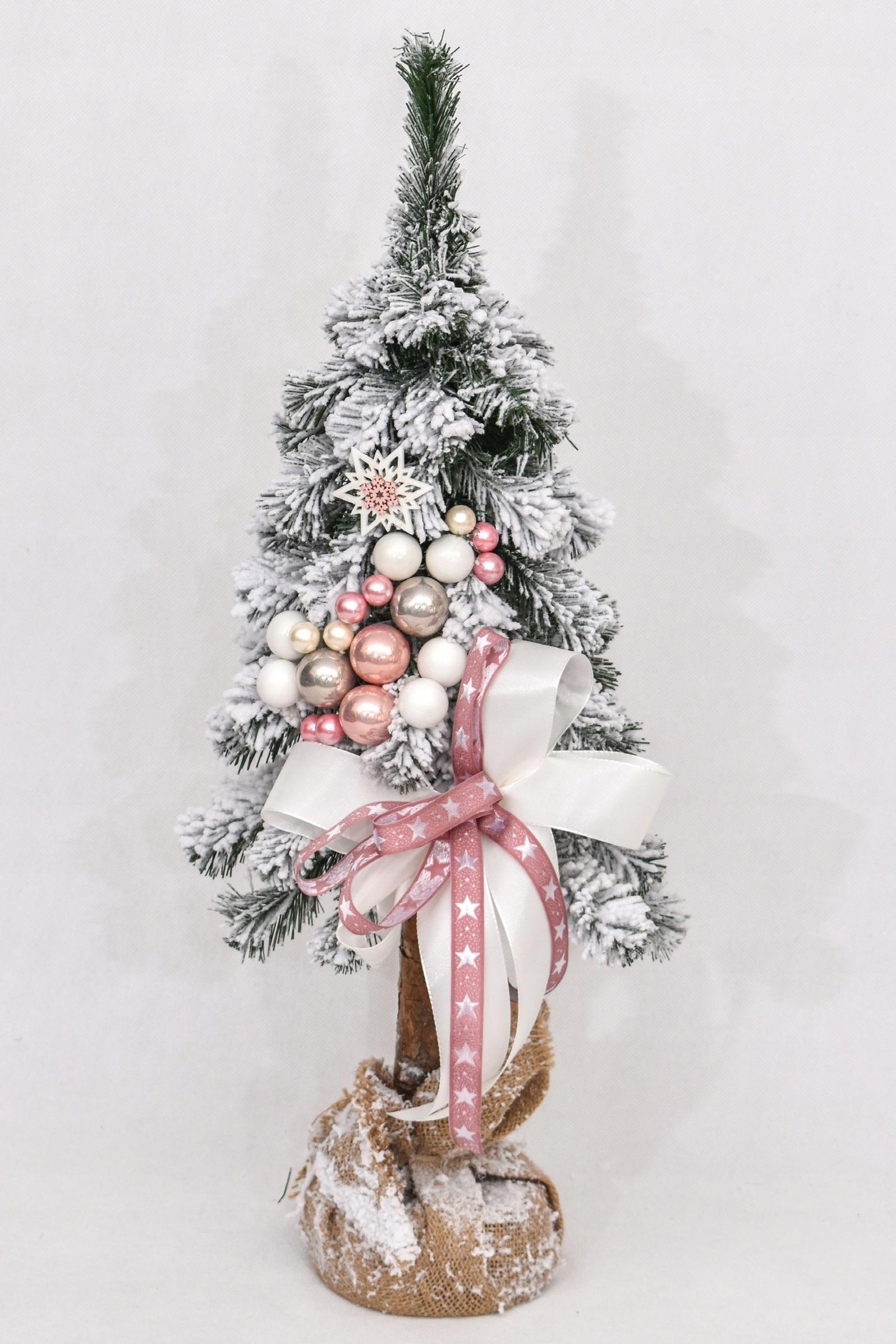 Zdobený zasnežený vianočný stromček s ružami, 65 cm