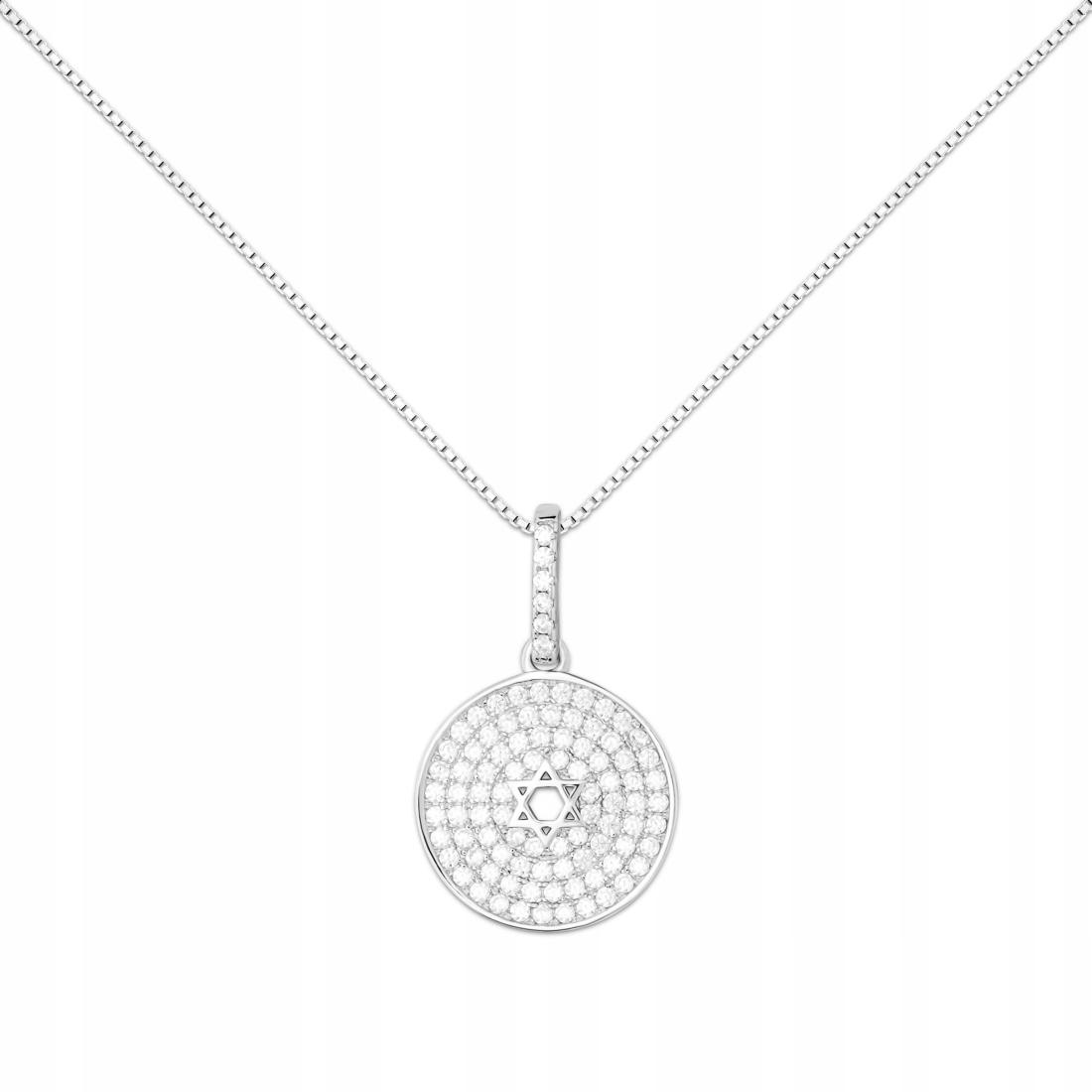Striebro RÓDIUM. náhrdelník, prívesok KRUH + reťaz