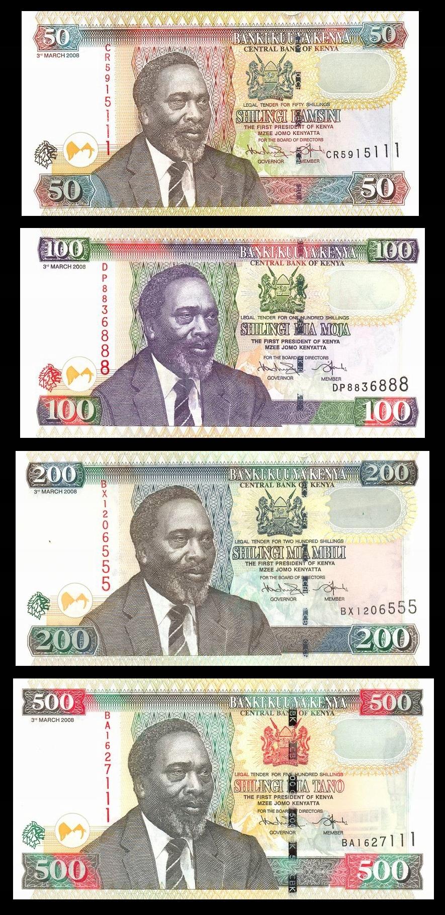 KENIA KENYA 50 100 200 500 Shillings 2008 UNC