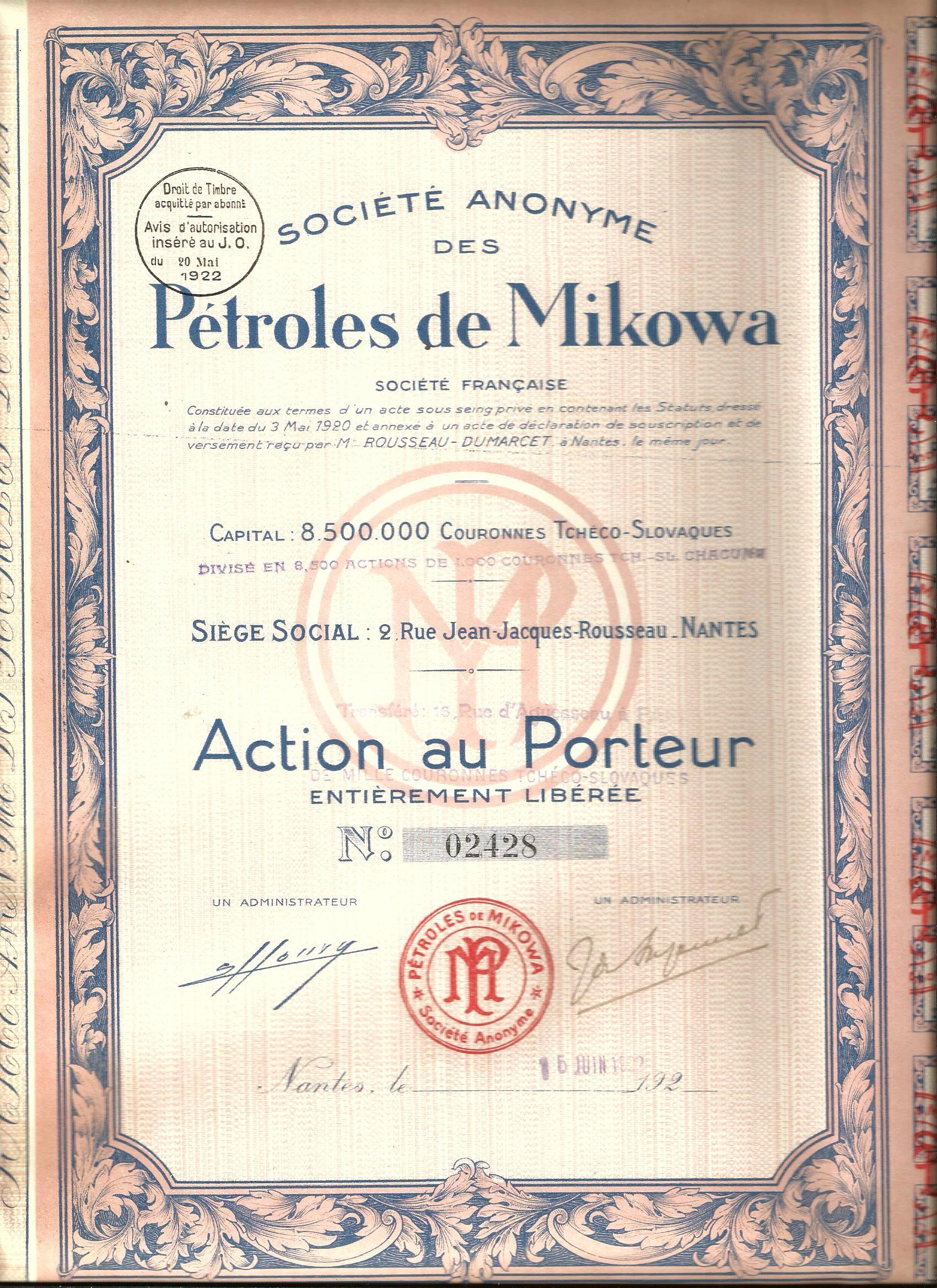 Item !MINE OIL MIKOWA! THE LOW BESKID!SLOVAKIA!1922!