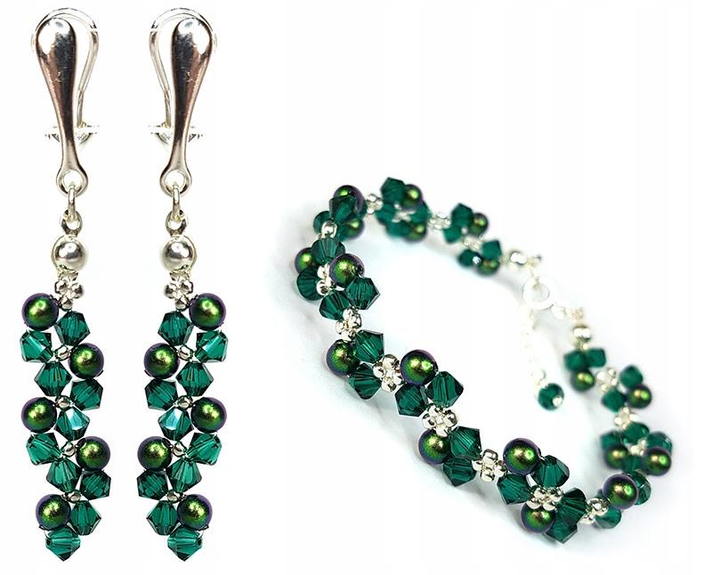 nastaviť KLIP SWAROVSKI kryštály smaragdovo zelená
