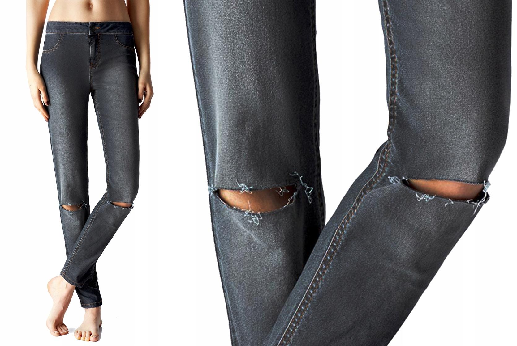 Calzedonia spodnie z dziurami jeans szare dziury L