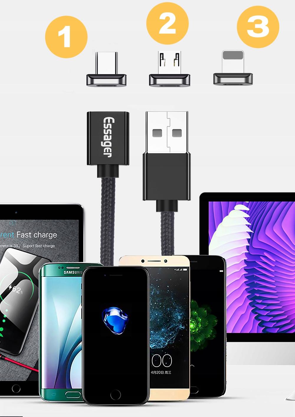 Kabel USB Magnetyczny 1m 3A 3w1 micro typ-C iphone Długość przewodu 1 m