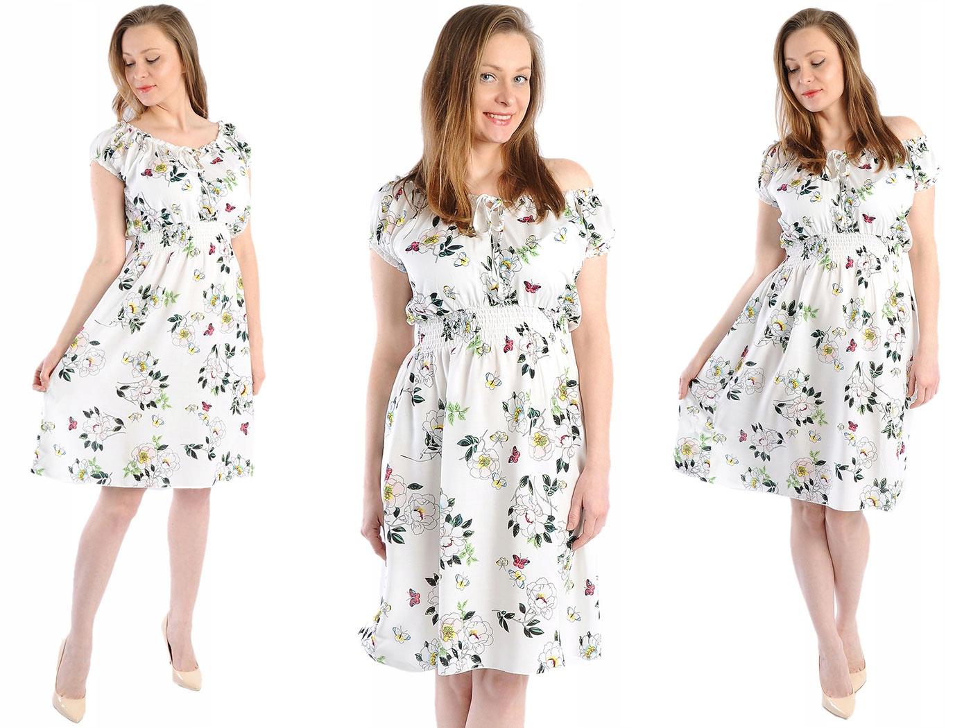 Zwiewna Sukienka W Kwiaty Laemi 577 Biała XL 42