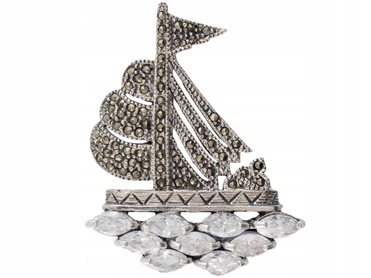 VERSIL yacht brošňa kamienkami markazyty 925 sterling SILVER