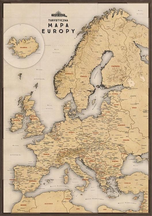 Mapa Európy na stene ako darček pre retro cestovateľa