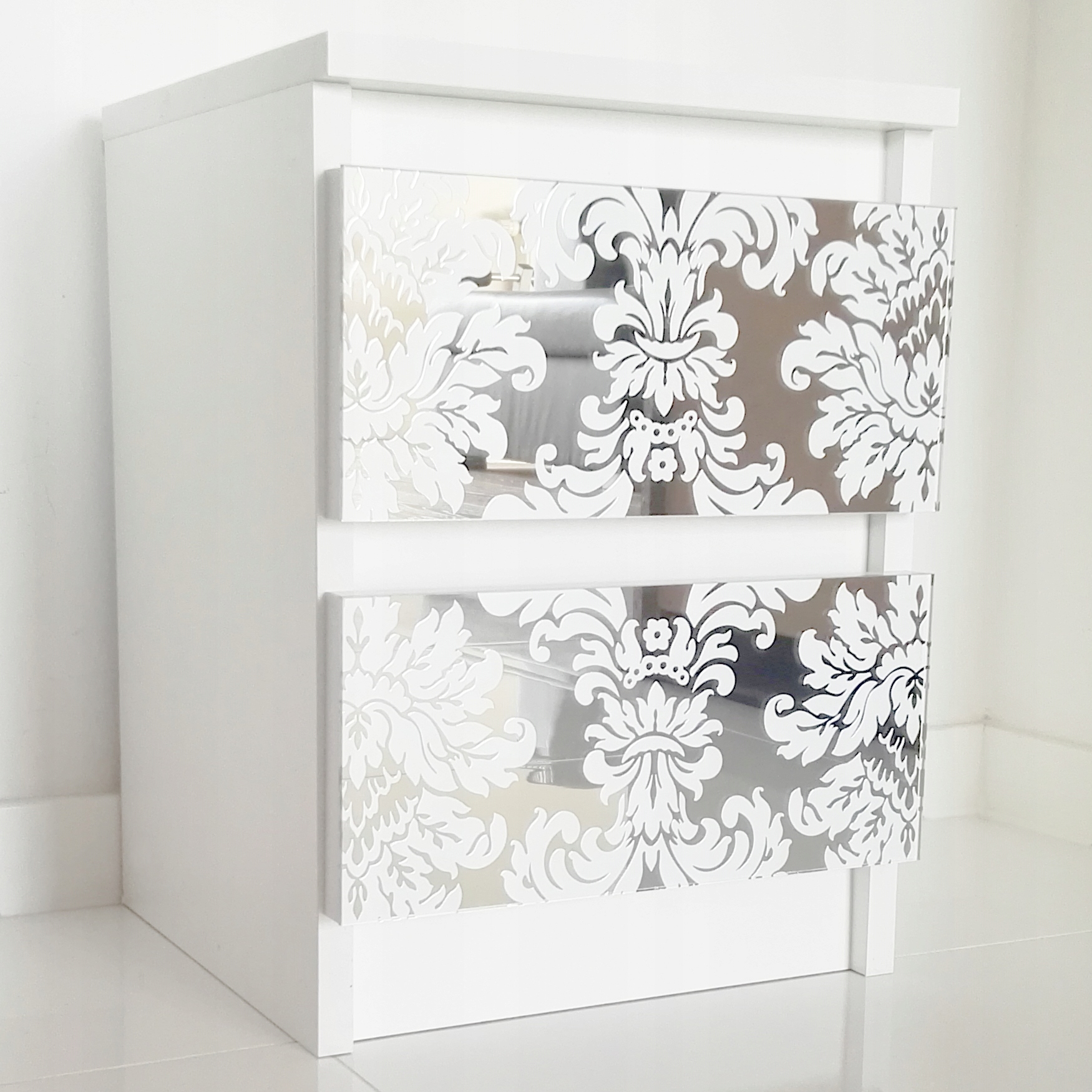 Toaletný stolík zrkadlo Vintage Glamour biele sklo