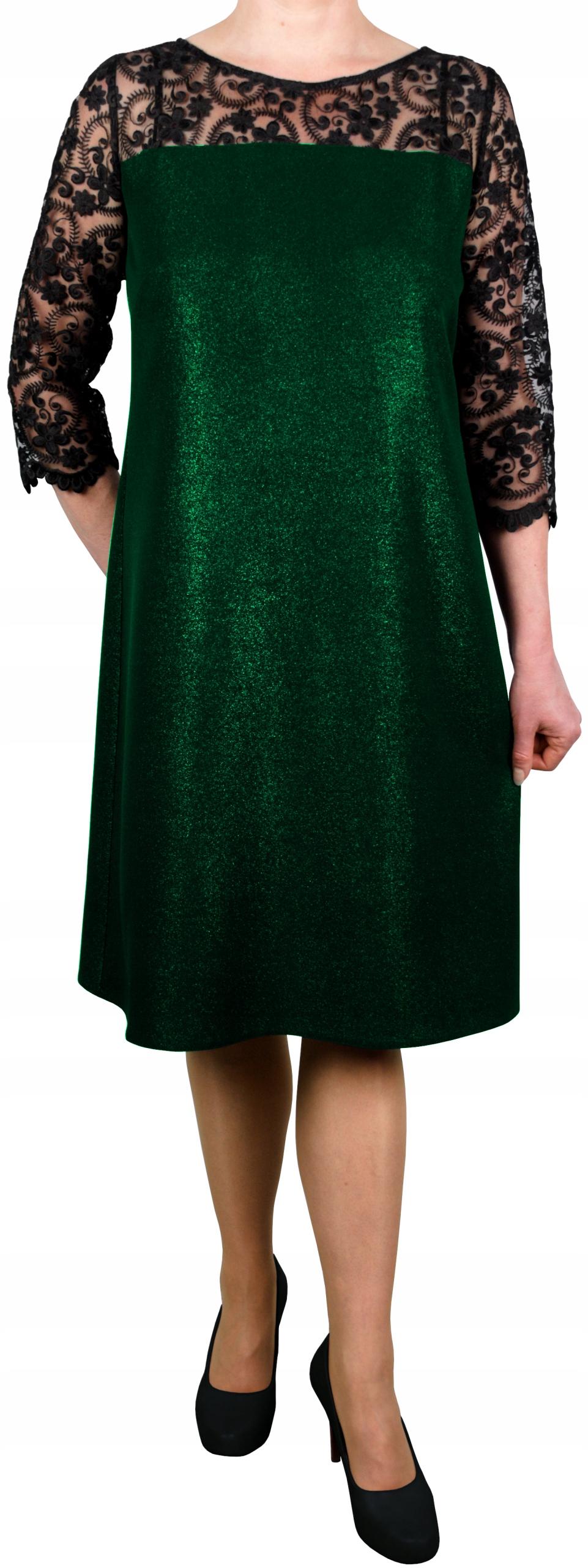 Sukienka wizytowa koronka but zieleń błyszcząca 42