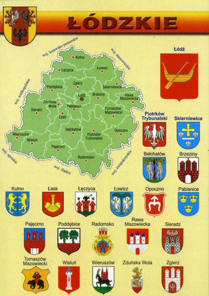 Купить ЛОДЗИНСКОЕ ВОЕВОДСТВО КАРТА, ГЕРБЫ WR805 на Otpravka - цены и фото - доставка из Польши и стран Европы в Украину.