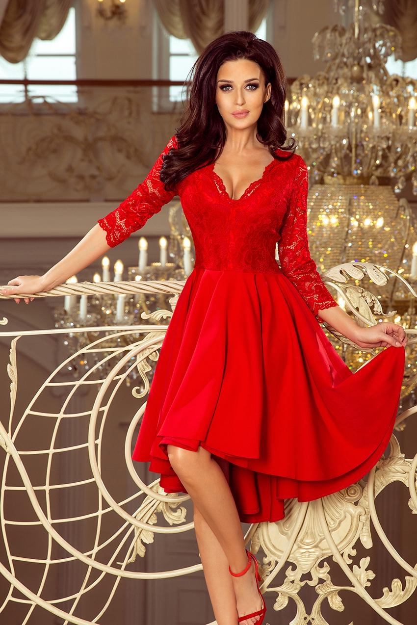 Sukienka elegancka koronka midi wesele rękaw 44