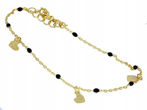 náramok gold 585 - czrne gule - Rokarte