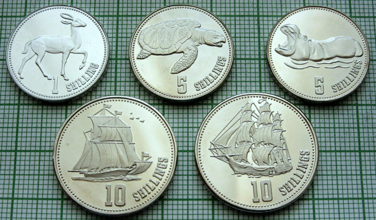 SOMALILAND zestaw 5 monet statki zwierzęta