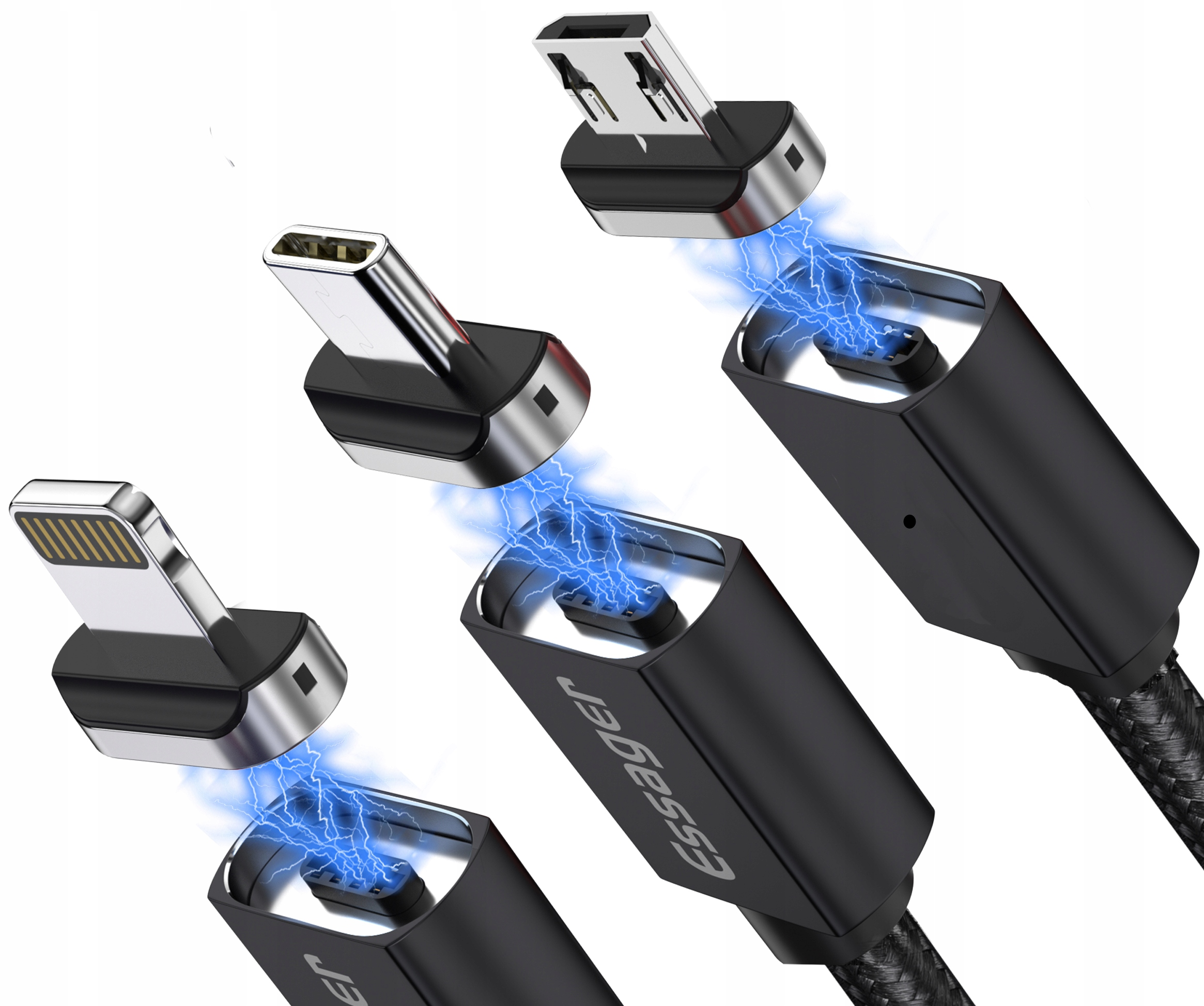Kabel USB Magnetyczny 1m 3A 3w1 micro typ-C iphone