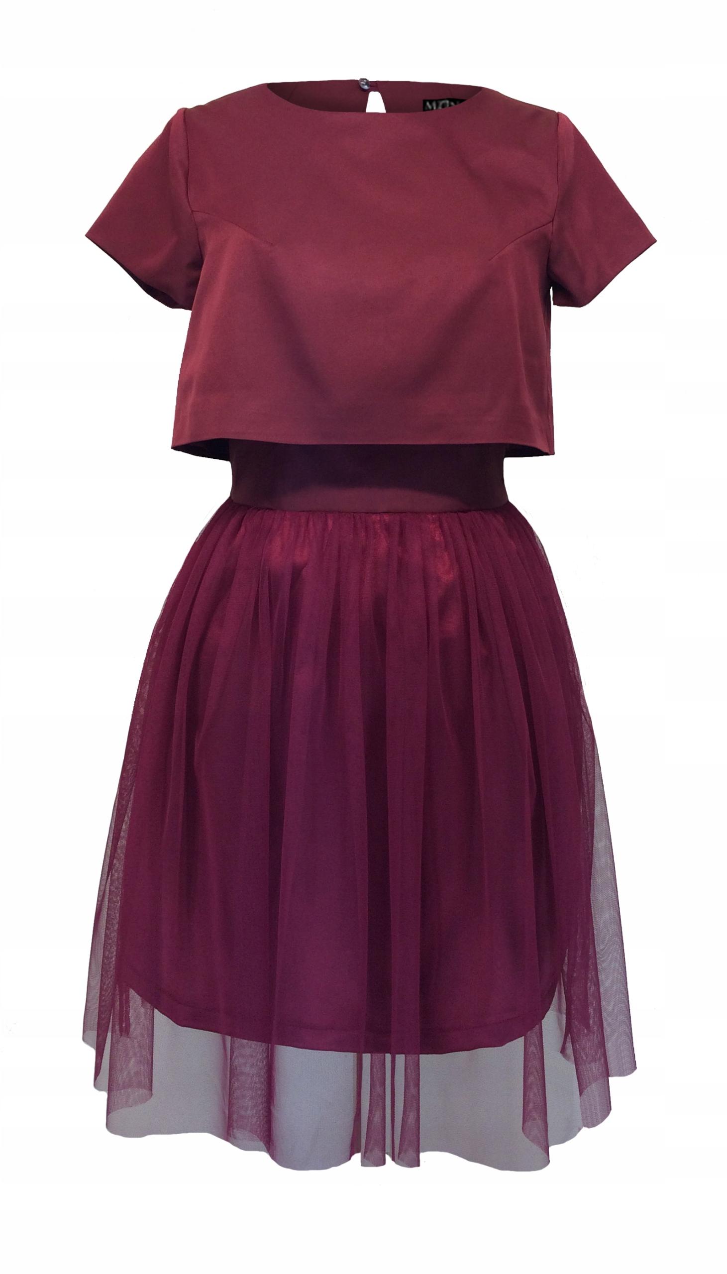Bordowa sukienka gorsetowa tiulowa z bolerkiem 46