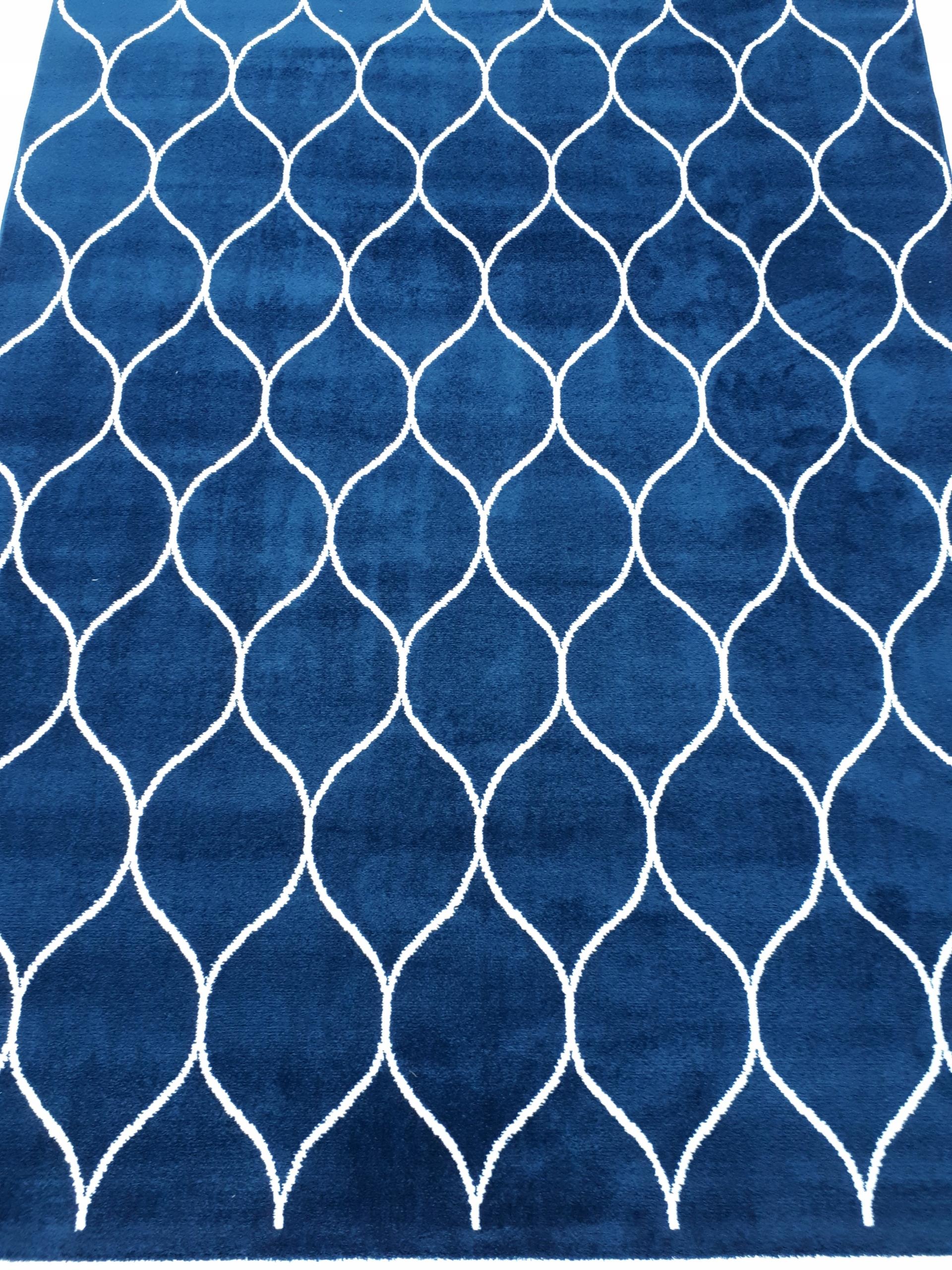 Koberec Koberec 160x230 mäkké, ďatelina, tmavo modrá, biela